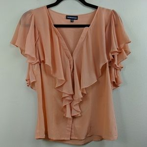 Warehouse Peach Silk Blouse Button Front Flutter 8